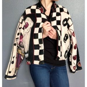 Vintage 50's Retro Print Knit Jacket